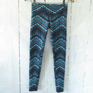 ALO Leggings Mixed Print Chevron Stripe Yoga